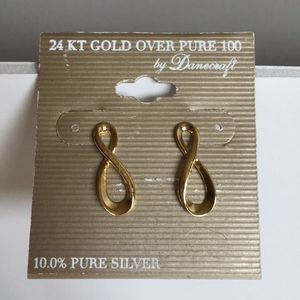 Danecraft 24KT Gold Over Silver Infinity Earrings